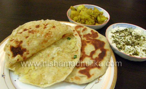 Stuffed Potato Naan/Aloo Naan Recipe - Nishamadhulika.com Aloo Chaat Food