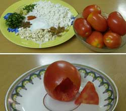 Stuffed Tomato Recipe, Bharwan Tamatar, Stuffed Paneer