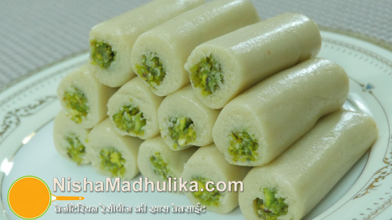 kaju pista roll recipe cashew pistachio rolls holi recipes