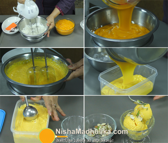 Mango ice cream recipe homemade ice cream nishamadhulika add mango pulp to the cream whip ingredients to mix wellwhen the mix is ready pour it in an airtight container spread evenly ccuart Image collections