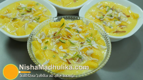 Delicious indian recipes in english language nishamadhulika mango phirni recipe aam phirni quick recipe forumfinder